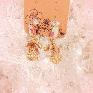 Gold Tone Bling Clip On Earrings